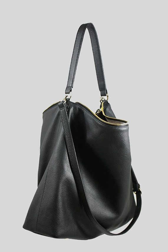 NELA Black Leather Hobo Bag LARGE Shoulder Bag by MISHKAbags