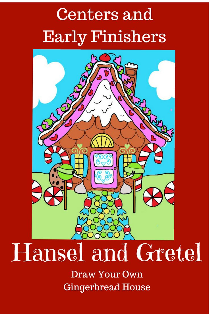 Fairy tales center, art sub lesson, early finishers station. Versatile and fun for kids. Draw a Gingerbread House activity is based on Hansel and Gretel.