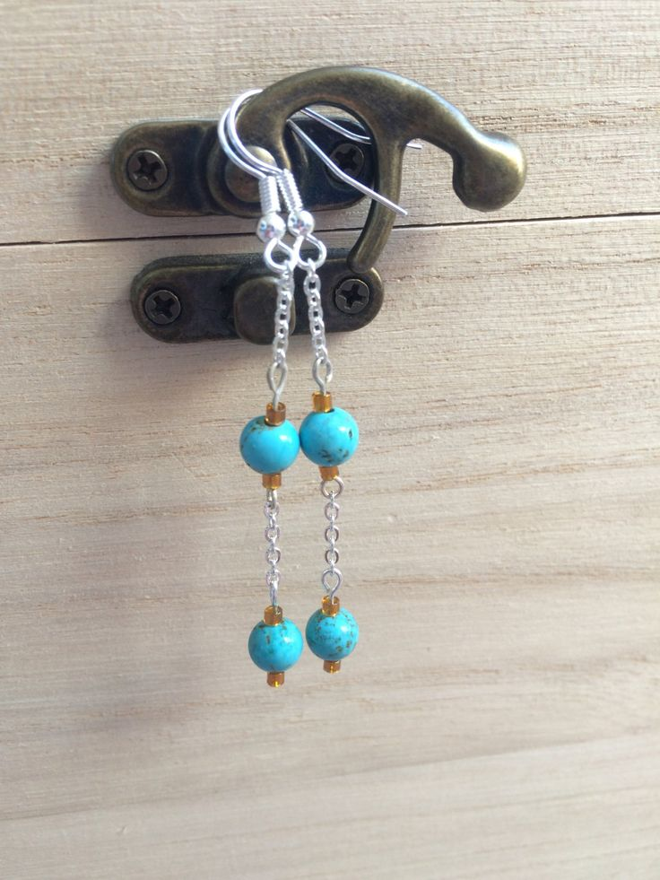 Turquoise And Honey Seed Beads Earrings With Chain, Modern Clip On, Cheap Gift For Her, Healing Jewellery, Spiritual Gift, Boho Earrings UK by MadeByMissM on Etsy
