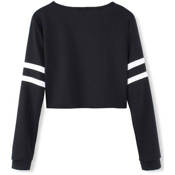 White Stripped Black Long Sleeve Short Crop Baseball Women T-Shirt ❤ liked on Polyvore featuring tops, t-shirts, graphic tees, crop top, t shirts, white tee and black tee