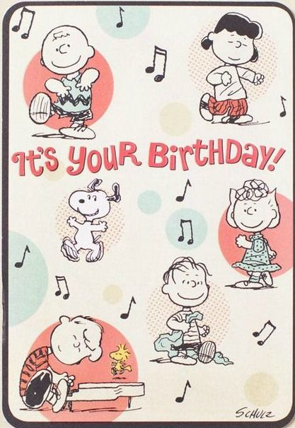 'Its Your Birthday!', Charlie Brown, Lucy, Linus, Sally, Schroeder, and Snoopy.
