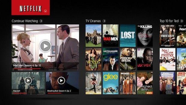 Netflix app for Windows 8 no menu