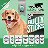 Bullysticks Organic Best 6 Inch Bully Sticks For Dogs - Big Bag 10 Pack Low Odor Dog Treats - All Natural Premium Beef - USDA/FDA Approved Hand Inspected Healthy Treat - 100% Happiness Guarantee!