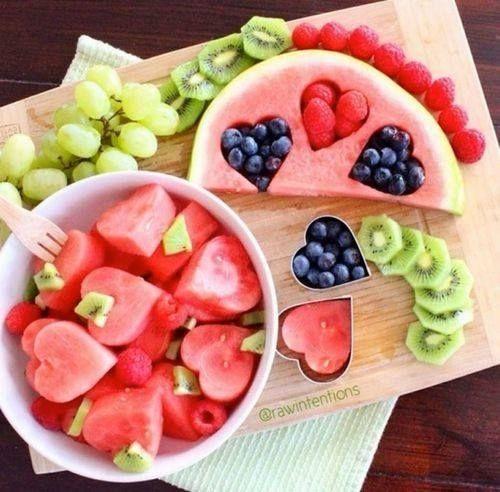 eat fruit: heart-shaped holes, watermelon