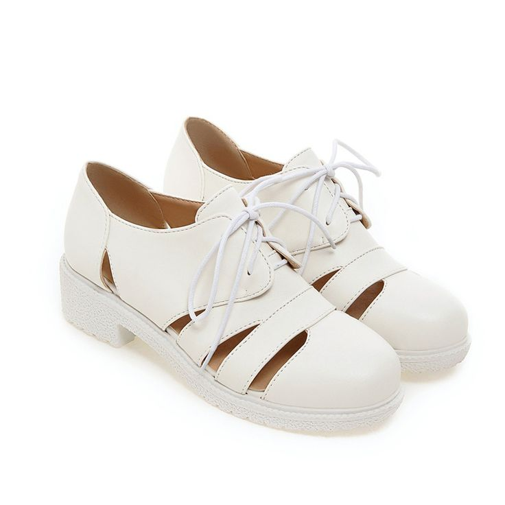 British college style comfortable rounded toe Oxford shoes fashion lace-up hollow out black white yellow med with women's shoes