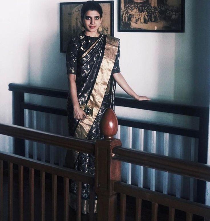Samantha Prabhu Saree Stlye - Black South Indian Silk Saree   #sareestyle#SareeTrends2017#Sari#SariStyle#Blouse