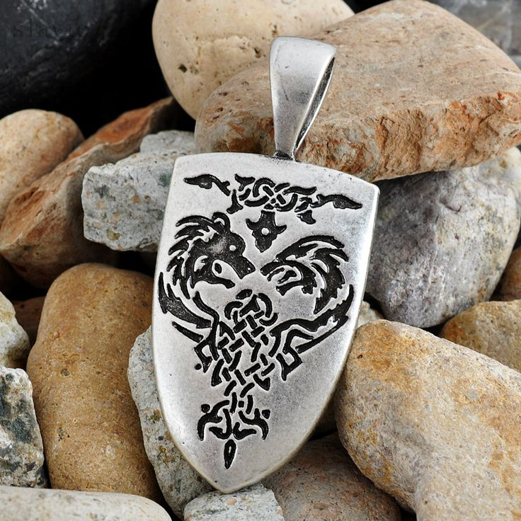 Totem Pendant Giant Wolf Charm Leopard Shield Amulets Gorjuss Norse Viking Best Friend Necklace