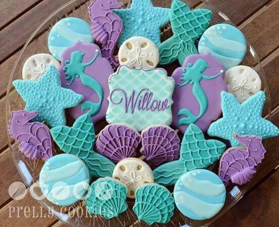Aqua U0026 Purple Sand Dollar And Swimming Mermaid Cookies