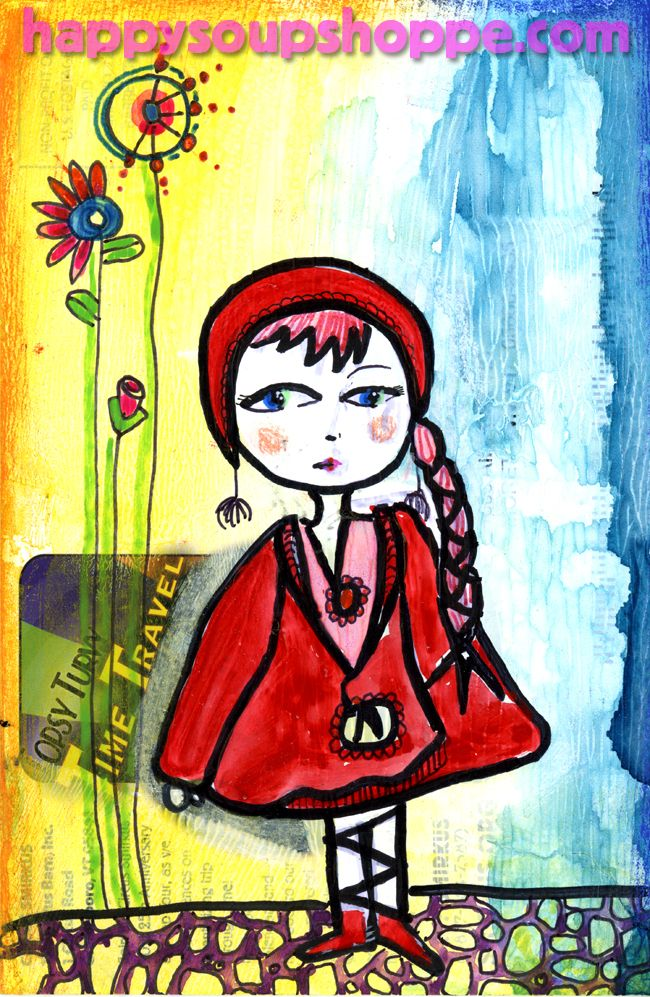 upcycled mixed media Little Red by Vermont Artist Cathy Stevens Pratt https://www.etsy.com/listing/169781604/red-riding-hood-hand-painted-art?