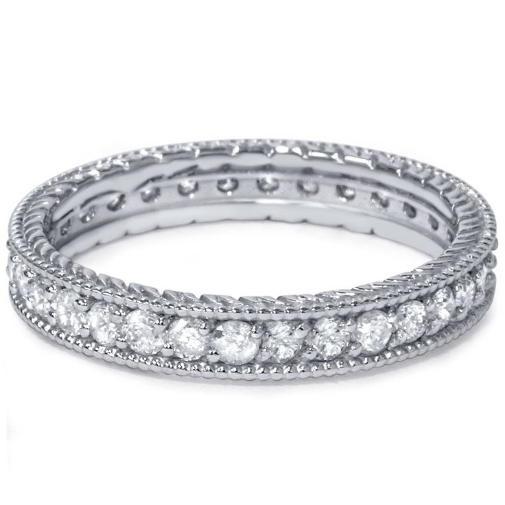 Stackable Diamond .60CT Vintage Eternity Ring Womens Wedding Band Anniversary 14K White Gold Size 4-9 door Pompeii3 op Etsy https://www.etsy.com/nl/listing/187520087/stackable-diamond-60ct-vintage-eternity