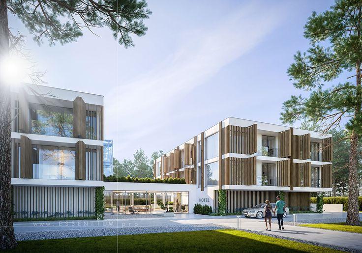 sunset, architecture, design, 3d, graphic, cgi, hotel, exterior, rendering, essentium,
