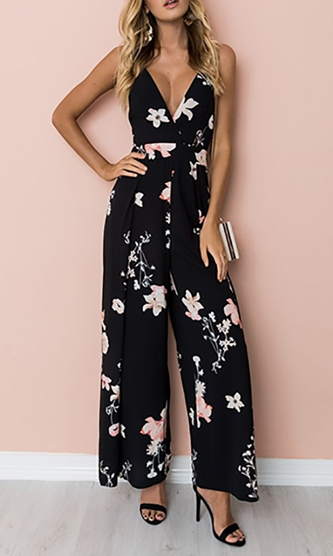 4bca37cb285 Garden Glamour Black Pink Floral Sleeveless Spaghetti Strap V Neck Cut Out  Tie Back Jumpsuit - Sold Out in 2019