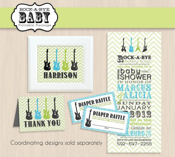 TEAL ROCK GUITAR Baby Shower Printable by PrintasticDesign on Etsy