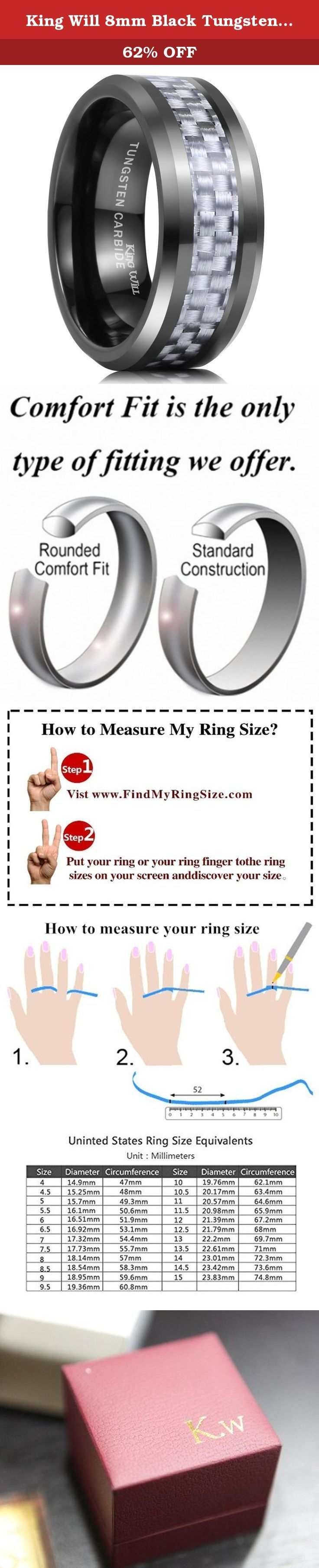 King Will 8mm Black Tungsten Silver Carbon Fiber Inlay High Polished Finish Wedding Band Ring (10). Tungsten is a very hard and dense metal with hardness between 8.5 and 9.5 on the Mohs hardness scale (Diamonds are a 10 - the highest). Its density, similar to that of gold, allows tungsten to be used in jewelry as an alternative to gold or platinum. Tungsten carbide is about 10 times harder than 18K Gold, four times harder than titanium, twice as hard as steel, and is the only rare and…