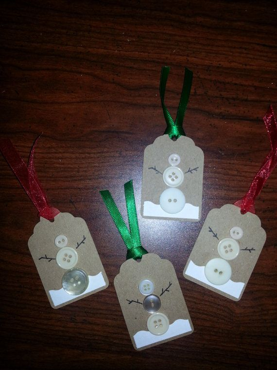 Set of 10 - Button Snowmen Gift Tags Use Grandma's Buttons for Peggy's gifts
