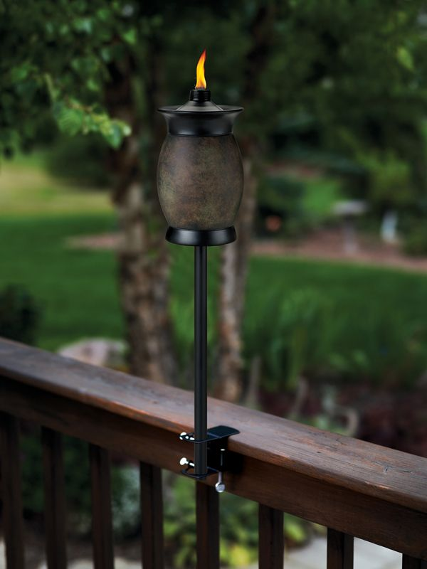 I love that this tiki torch attaches to the deck perfect for Outdoor tiki torches
