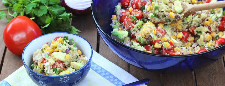 Quinoa, Corn, and Avocado Salad - Quick cooking quinoa makes this a perfect summer salad when you don't want to heat up the kitchen. It is also great for a last minute potluck, or when company comes over unexpectedly. Instructions: Combine everything in a large bowl...  Read more