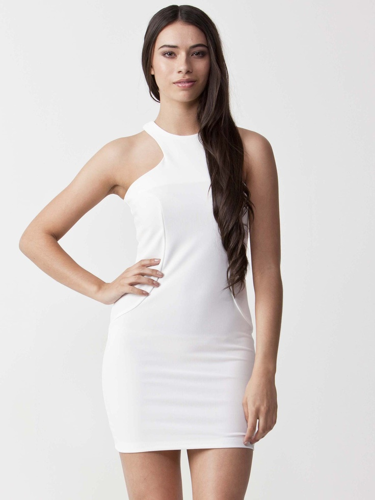 Bell - Ivory Bodycon Dress with round neckline.  Features cutout shoulder panels with detailed stitching.  Enclosed back zip closure and regular fit cut. $71.50
