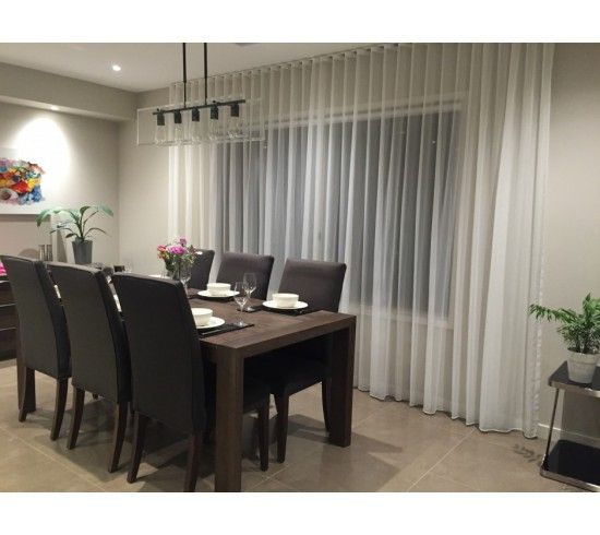 Amanda Rogers - Roller Blinds Blockout in Vibe 'Cloud' / Sheer Curtains Warwick Fabrics Marley 'Ivory'