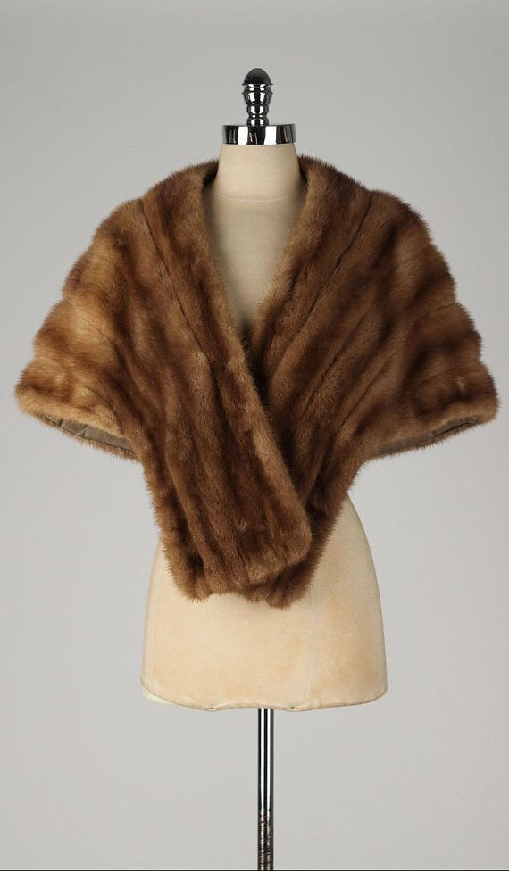 Vintage 1950s Wrap Brown Mink Shawl Pockets 4714 In