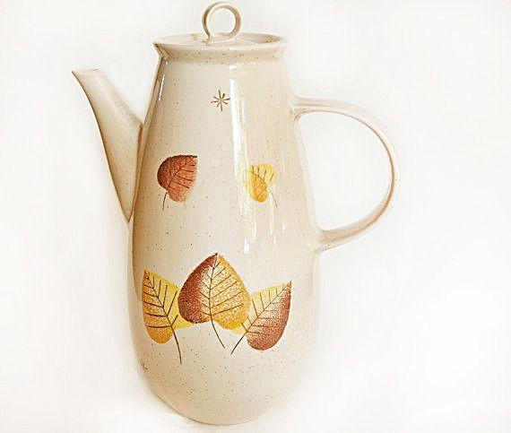 Vintage Midcentury Vernonware Coffee Carafe | Retro Metlox Vernonware Sherwood Speckled Autumn Leaves Pattern