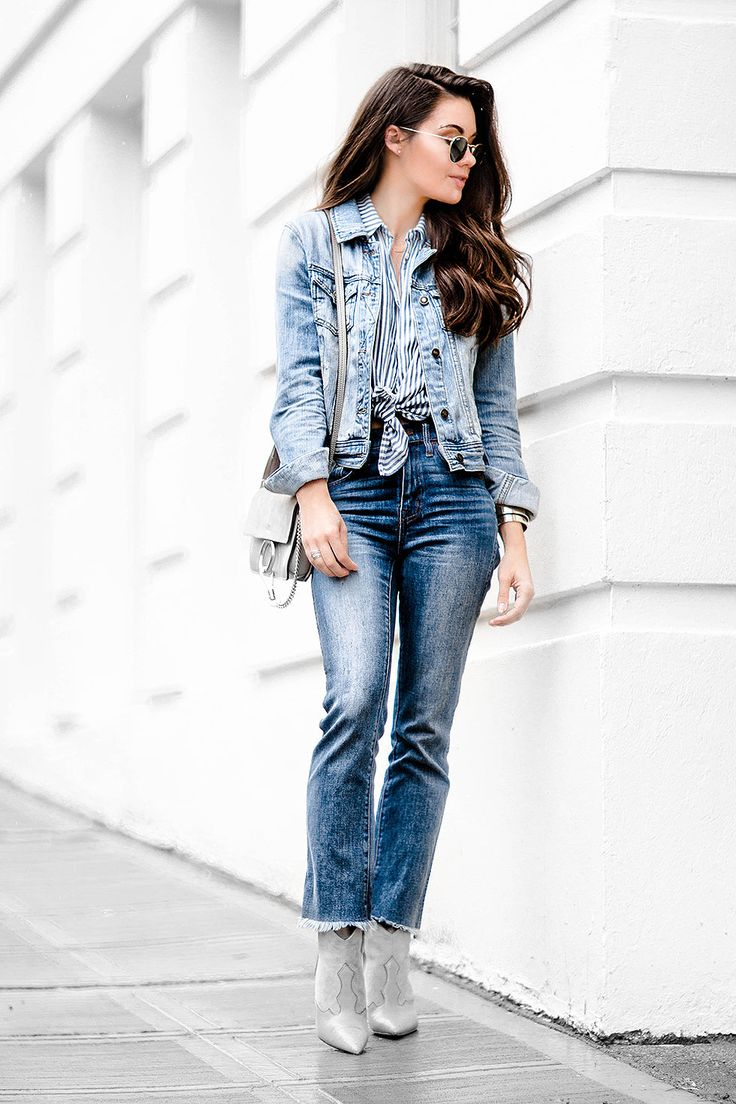 If you're looking for a classic retro style, wear the double denim trend with a waist tie striped shirt and cowboy boots like Sarah Butler! This look is effortlessly chic and infinitely...