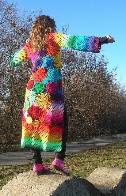Dream Coat #crochet #coat #doily #rainbow #hippie #bohemian #whimsical