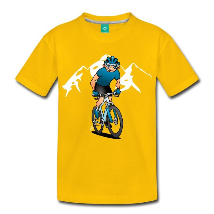MTB T-Shirt.    #MTB #ATB #VTT #Mountainbike #Tshirt #fashion #cybermonday #Spreadshirt #gift #chrismasgift #gifts #chrismasgifts #Tshirtdesign #shop #shopping #drawing #funny #pod #podartist    A full color illustration of a cyclist standing on the pedals of his MTB. He is riding a Trans Alp in the mountains.