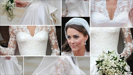 Exquisite lace work hand stitched on Kate's wedding dress - stitched by Jenny Adin-Christie (among others) as part of the Royal School of Needlework team.