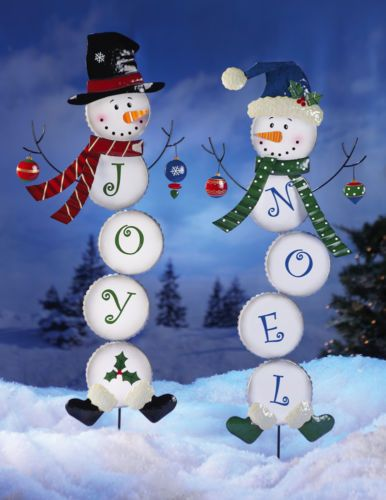 details about frosty snowman garden metal yard art outdoor holiday christmas joy noel decor. Black Bedroom Furniture Sets. Home Design Ideas