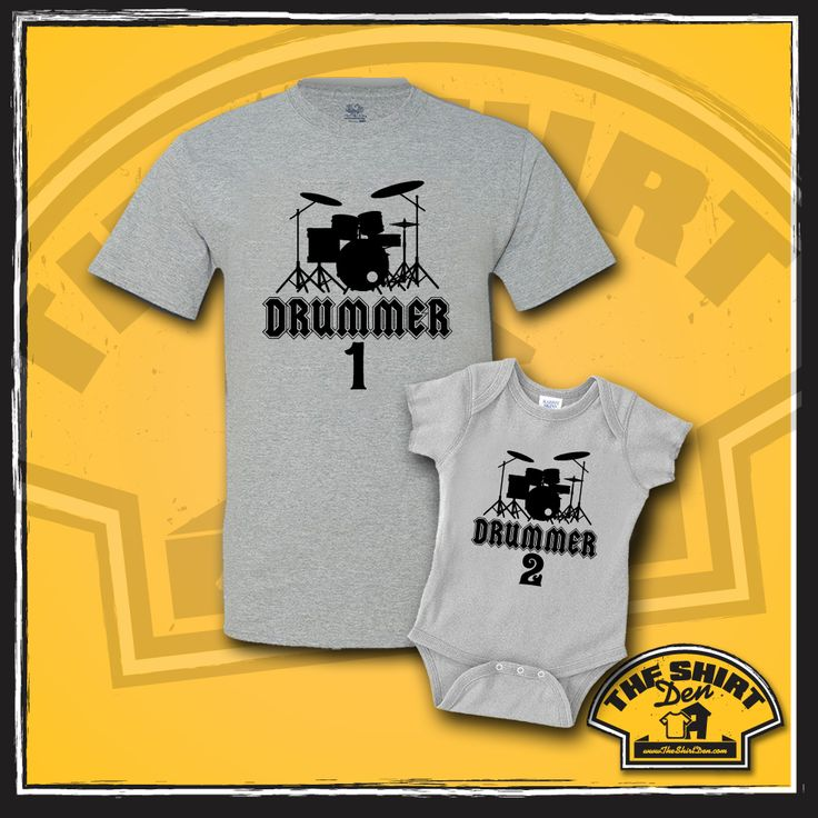 """Drummer 1 and Drummer 2"" Matching Dad and Baby set are an awesome gift for any new daddy who is in to playing the drums! This makes a great gift for a baby shower, or makes a nice prop for a photoshoot."