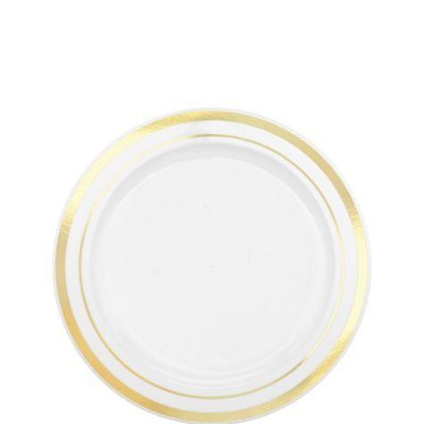 white gold trimmed premium plastic appetizer plates 20ct