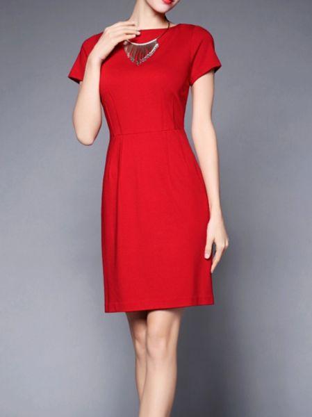 Symmetric wrap effect Cotton/Polyester #Mini #dress  #stylewe