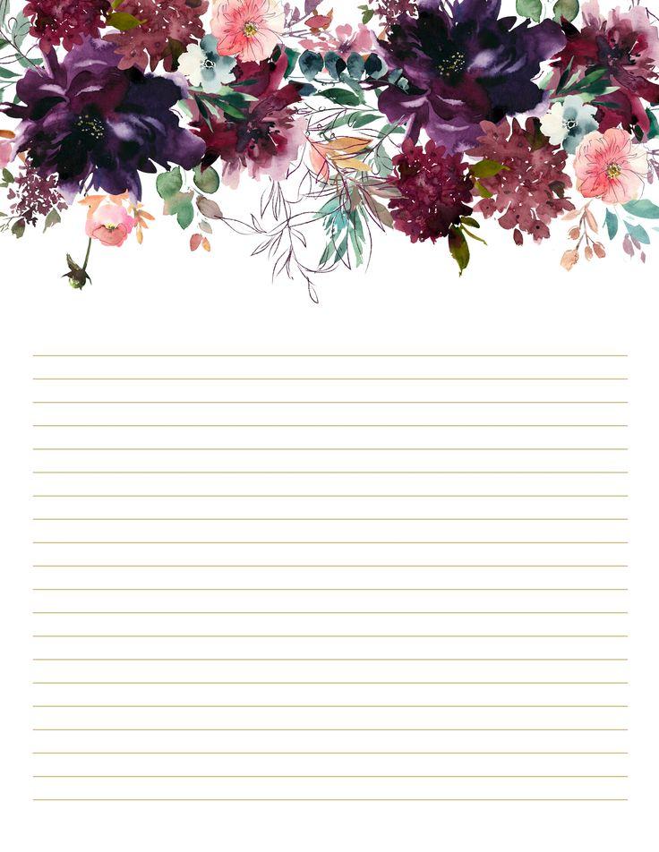 Burgundy & Plum Floral Stationary, set of 10, floral