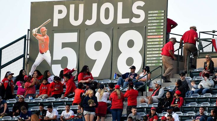 Albert Pujols is nearing 600 homers, and no one seems to care  -  May 30, 2017:      Stadium workers change the home run counter for Los Angeles Angels designated hitter Albert Pujols (not pictured) from 597 to 598 after a solo home run.