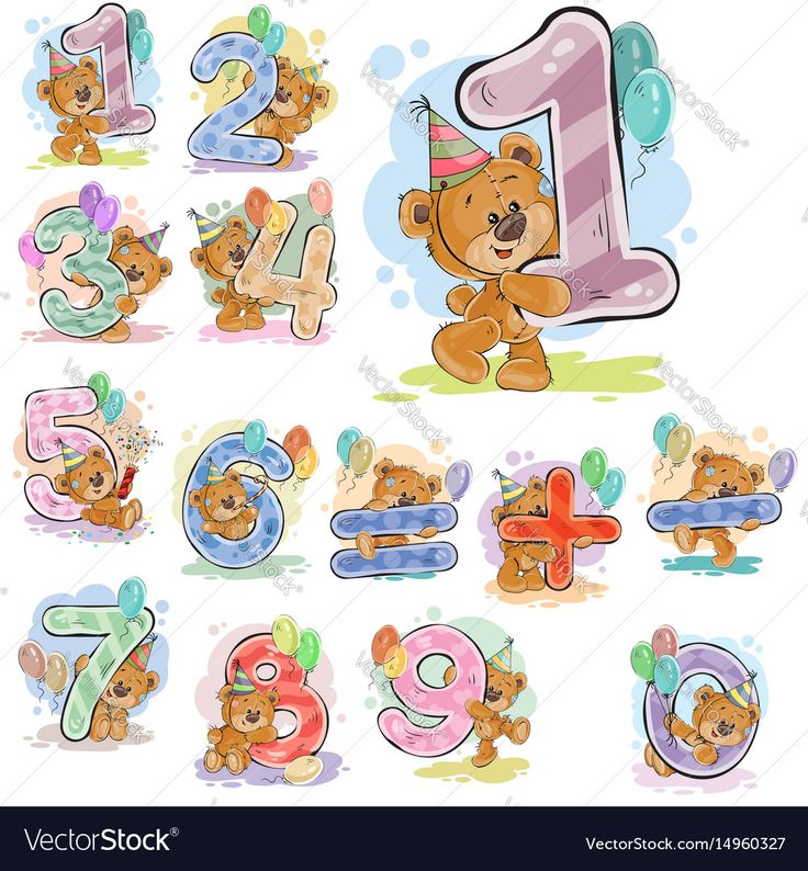A set of vector illustrations with a brown teddy bear and numerals and mathematical symbols. Prints, templates, design elements for greeting cards, invitation cards, postcards. Download a Free Preview or High Quality Adobe Illustrator Ai, EPS, PDF and High Resolution JPEG versions.