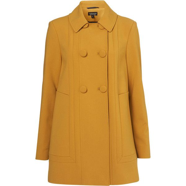 TOPSHOP A-Line Sixties Swing Coat (165 BAM) ❤ liked on Polyvore featuring outerwear, coats, jackets, coats & jackets, topshop, ochre, swing coat, topshop coat, trapeze coat and yellow coat