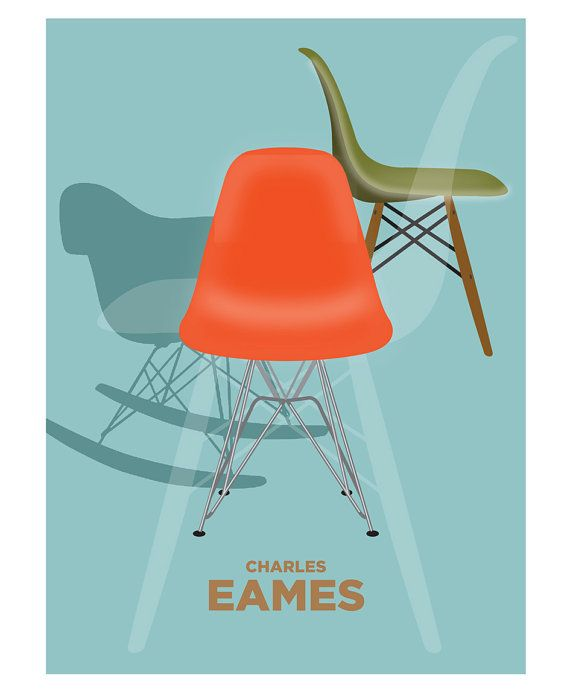 Visual Philosophy Retro Poster CHARLES EAMES chairs mid century by visualphilosophy