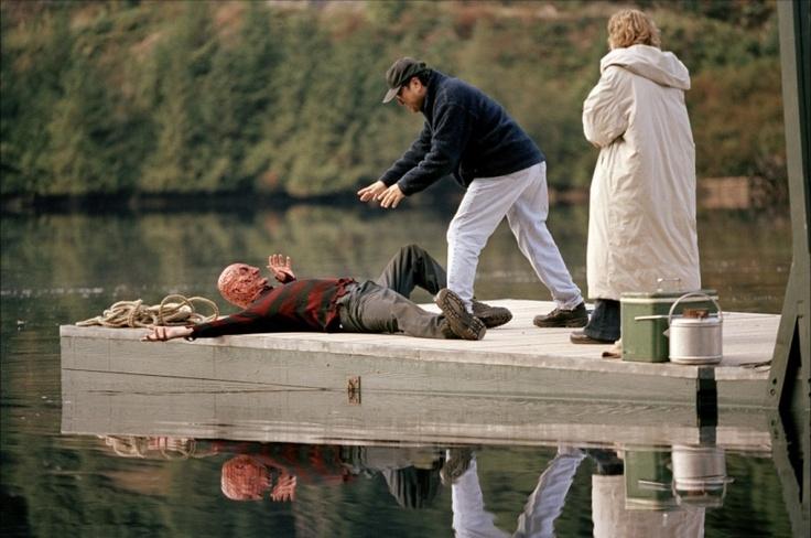 Robert Englund, Ronny Yu and Monica Keena on-set of Freddy VS Jason (2003)