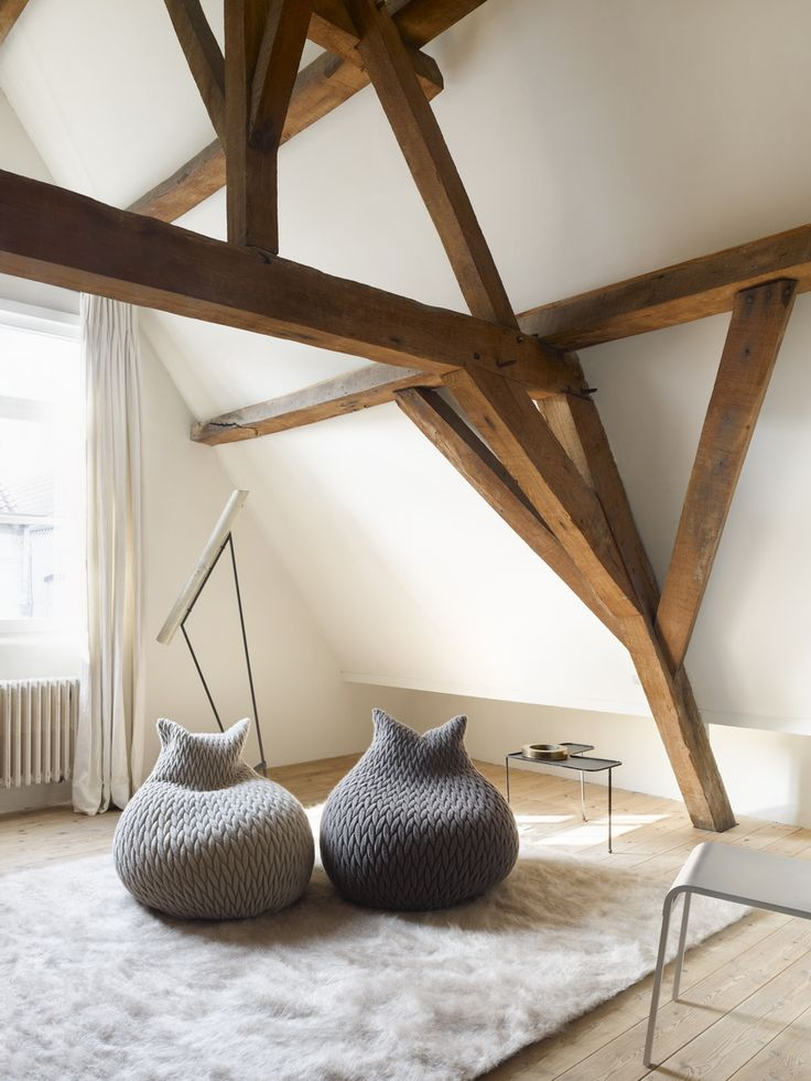 Slumber Poufs by Aleksandra Gaca. Love the wood beams too.Ideas, Exposed Beams, Expo Beams, Poufs, Attic Spaces, Fat Cat, Beans Bags Chairs, Design, Wood Beams