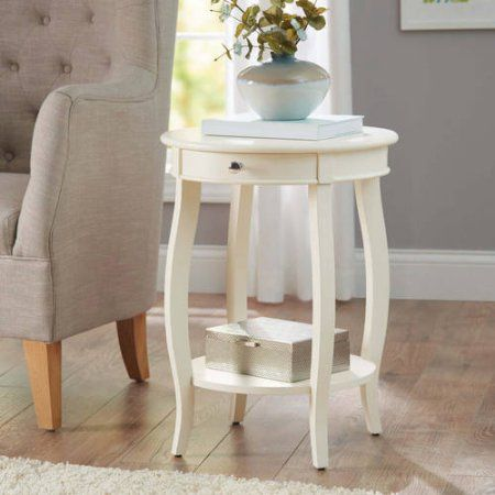 Better Homes and Gardens Round Accent Table with Drawer, Multiple Colors, White