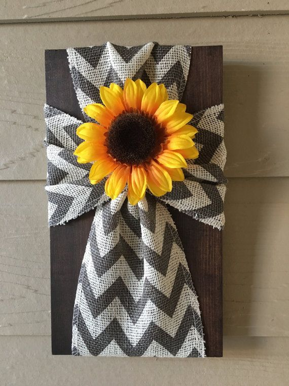 Grey/White Cheveron Burlap Cross on a Dark Brown Stained Wood Board Sunflower  10x15 $25  (Size Pictured is a smaller version-8x13 inches)   *All Sales Final
