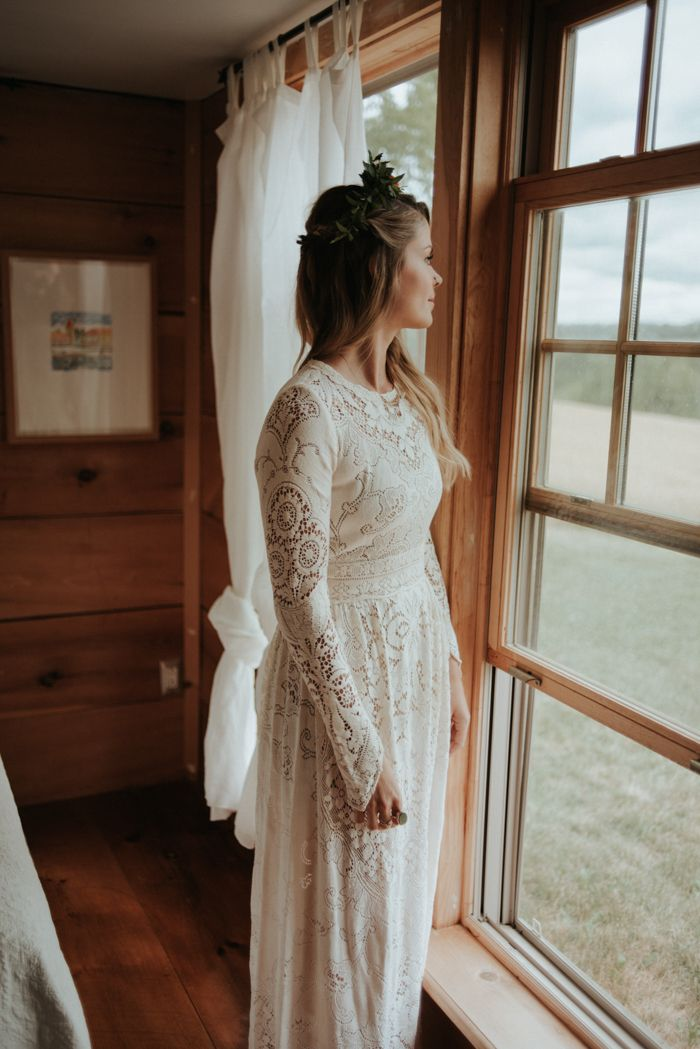 """""""I tend to rock a loosely woven bohemian look in my everyday life, and didn't want this day to be any different. The dress I wore for the ceremony was the first thing I locked down, before we even had a date or a venue. I found it online while searching some vintage treasure troves on Etsy. It made me think of these gorgeous lace Valentino dresses from a few seasons back, which in turn were borrowing from a very 70s folk princess style""""- the bride 