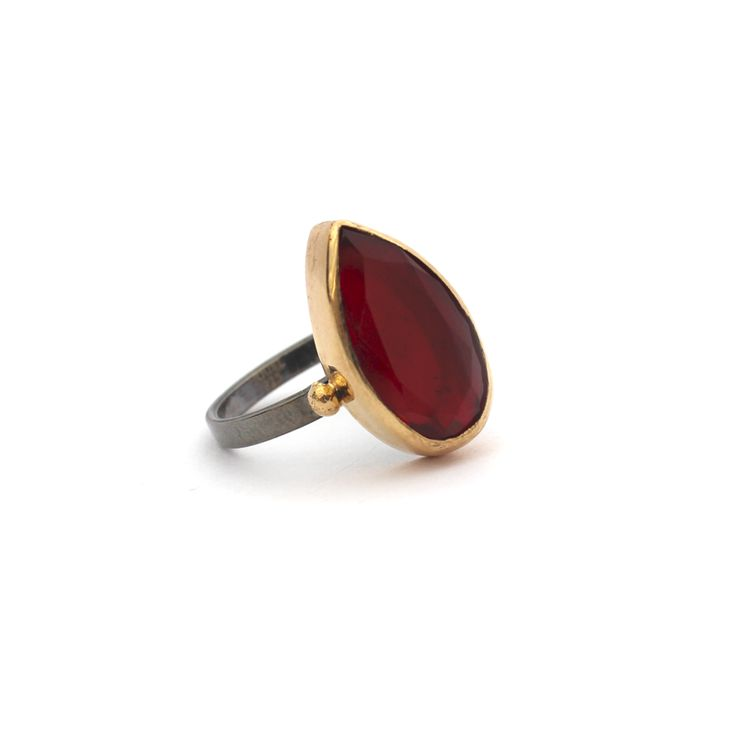 Lalehan Ring – Kate McCoy | Lalehan is Turkish for Cherry. Hand made from sterling silver and finished with black rhodium and 14 kt yellow gold vermeil.