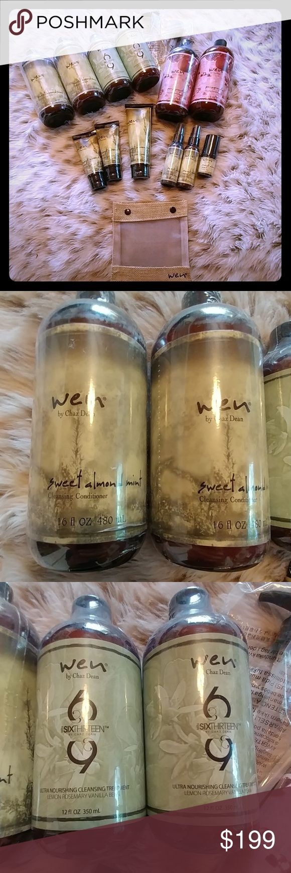 Brand New Wen Hair Care Lot......Great Deal! In this lot of Wen by Chaz Dean you will be getting 15 items. 2- Sweet Almond Mint Cleansing Conditioners, 2- Ultra Nourishing Cleansing Treatment, 2- Pomegranate Cleansing Conditioners (1 the plastic wrap wripped off but its brand new!), 2- Sweet Almond Mint Cleansing Conditioners 2 fl oz, 1- Sweet Almond Mint Anti-frizz Styling Cream, 2- Sweet Almond Mint Replenishing Treatment Mist, 1-Sweet Almond Mint Texture Balm, 2- Pumps and one travel…
