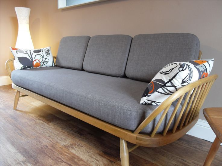 Cushion Set for a 50's 60's Ercol Daybed Studio Couch - Amazing Brown Grey Linen | eBay
