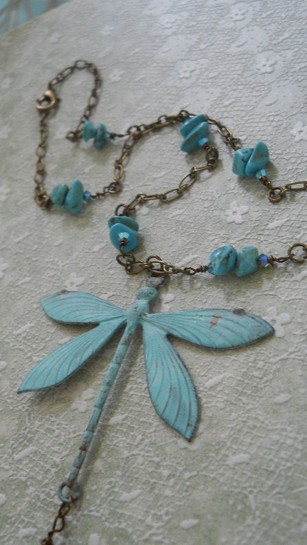Libellule dragonfly necklace genuine turquoise by bohemienneivy, $78.00