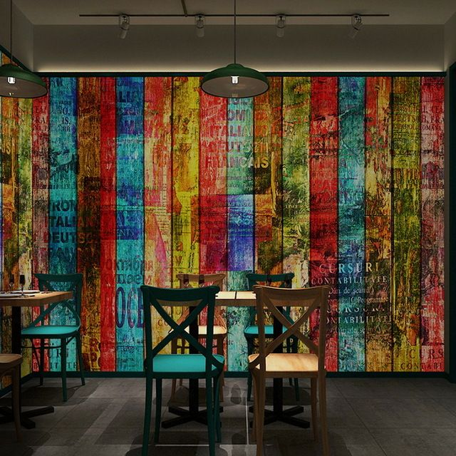 Free shipping3Dcolor wood wallpaper vintage brick wall graffiti alphabet board Restaurant Internet cafe large mural Custom sizes