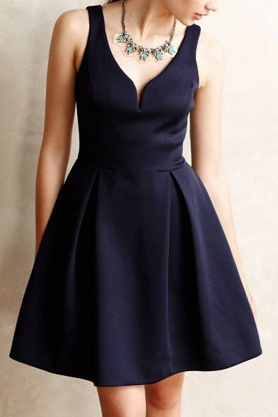 Solid Color V-Neck Sleeveless A Line Dress in Blue