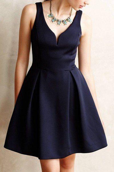 Solid Color V-Neck Sleeveless A Line Dress Cadetblue: Dresses 2015 | ZAFUL